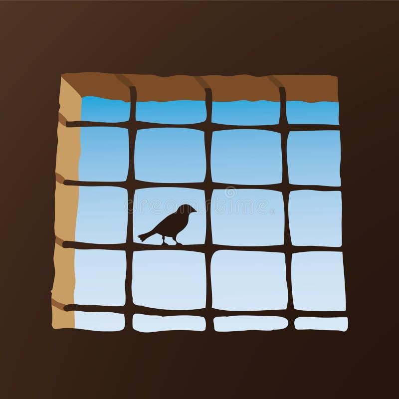 Vogel auf Zellenfenster stock abbildung