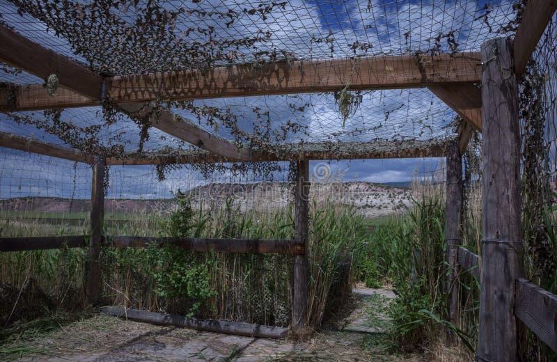 Vogel-blinde Struktur entlang Antrieb der wild lebenden Tiere im Braun parken in Colorado stockbilder