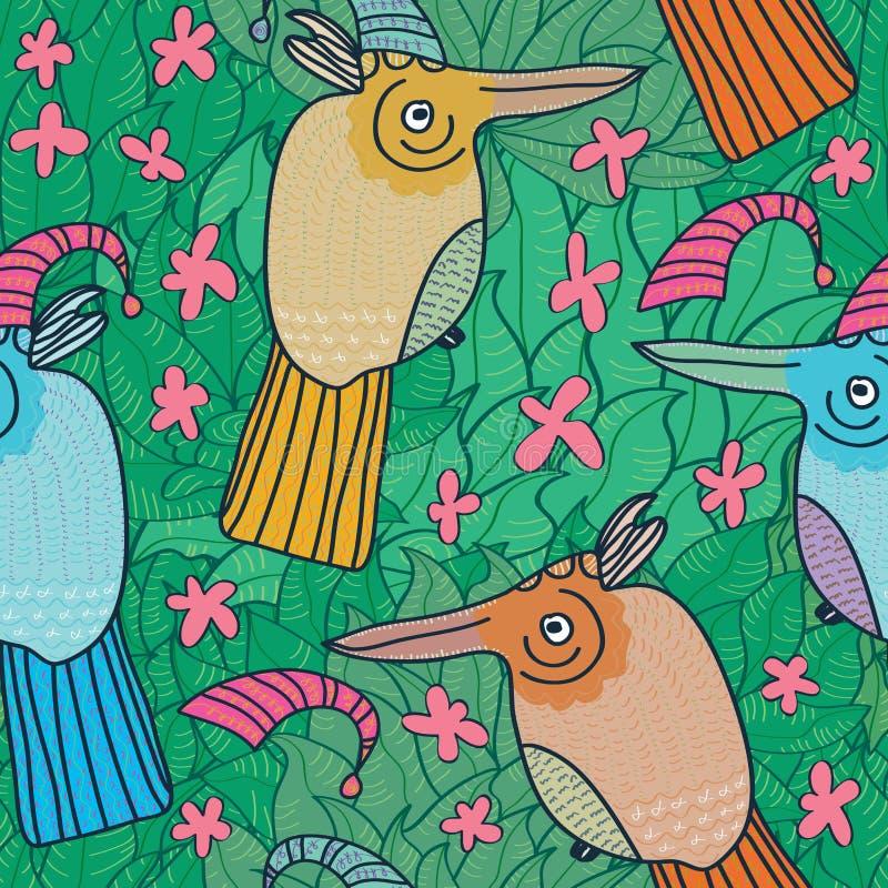 Vogel-Blumen-Rosa-Grün nahtloses Pattern_eps lizenzfreie abbildung