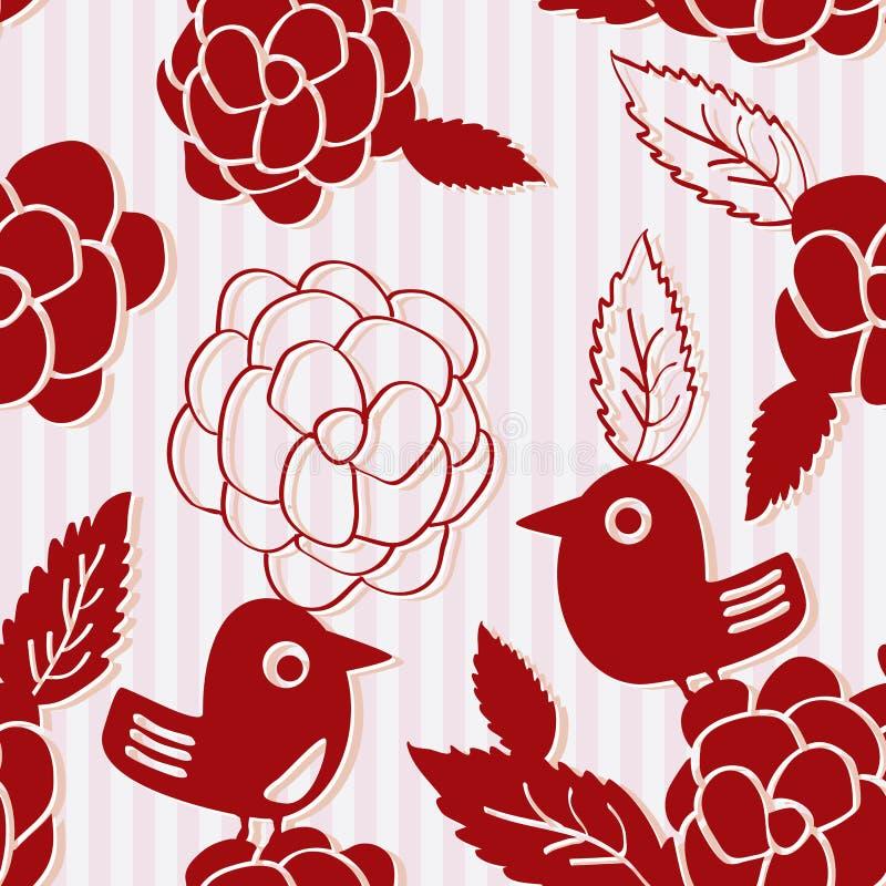 Vogel-Blumen-Schattenbild-nahtloses Muster lizenzfreie abbildung