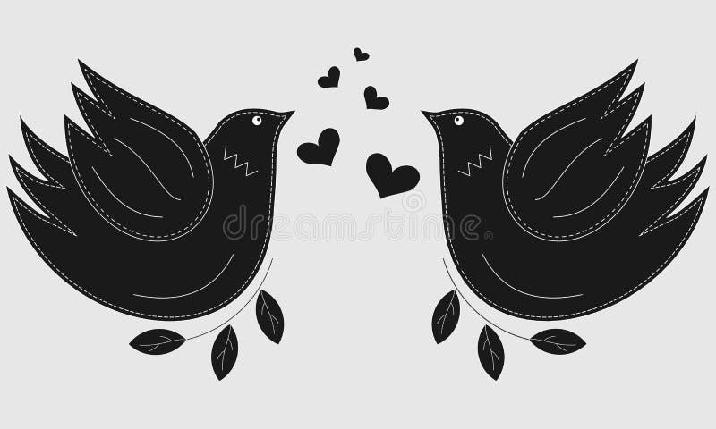 Vogel de duif Duifsymbool van vrede De vogels van de liefde en een boom royalty-vrije stock afbeeldingen