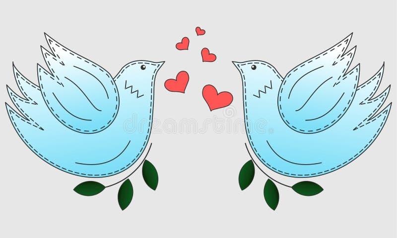 Vogel de duif Duifsymbool van vrede De vogels van de liefde en een boom stock fotografie