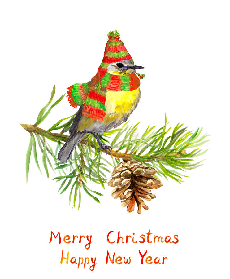 Vogel in de winterhoed en sjaal op Kerstmisboom watercolor stock illustratie