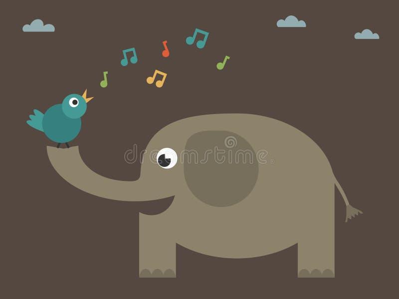 Vogel, der auf Elefanten singt lizenzfreie abbildung