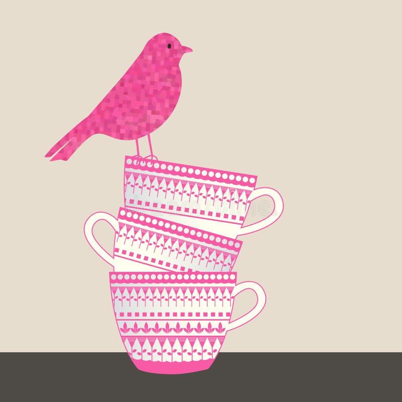 Vogel, der auf Stapel Schalen sitzt vektor abbildung
