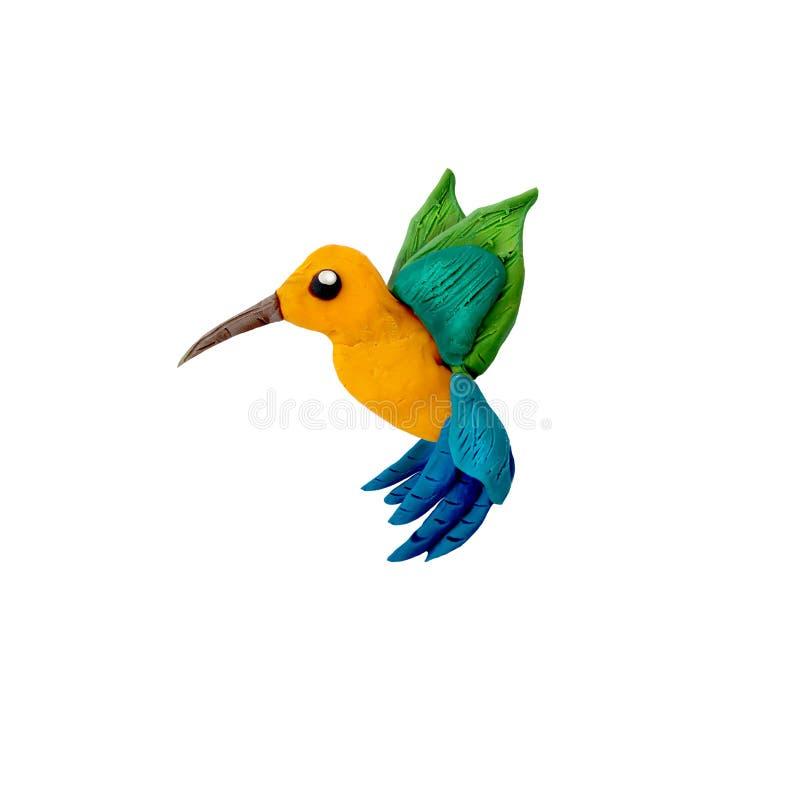 Vogel der Kolibri-Knetmasseskulptur 3D lokalisiert auf weißem Hintergrund stockbild