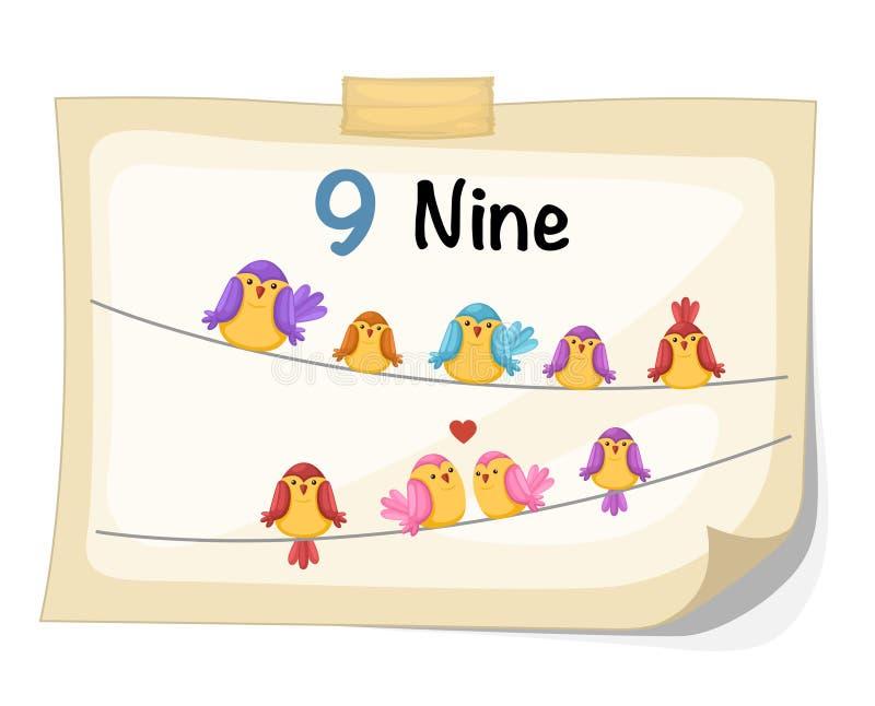 Vogel der Nr. neun lizenzfreie abbildung