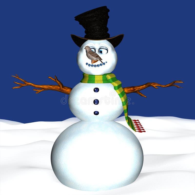 Vogel die op Sneeuwman wordt neergestreken vector illustratie