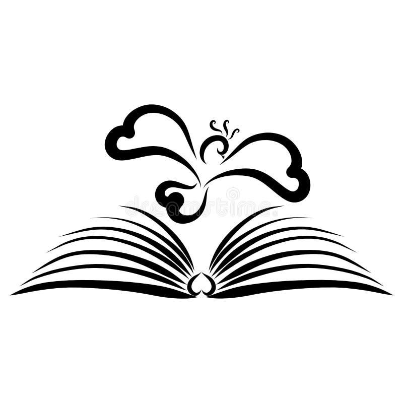 Vogel die over een open boek, een godsdienst, een poëzie of een fantasie vliegen royalty-vrije illustratie