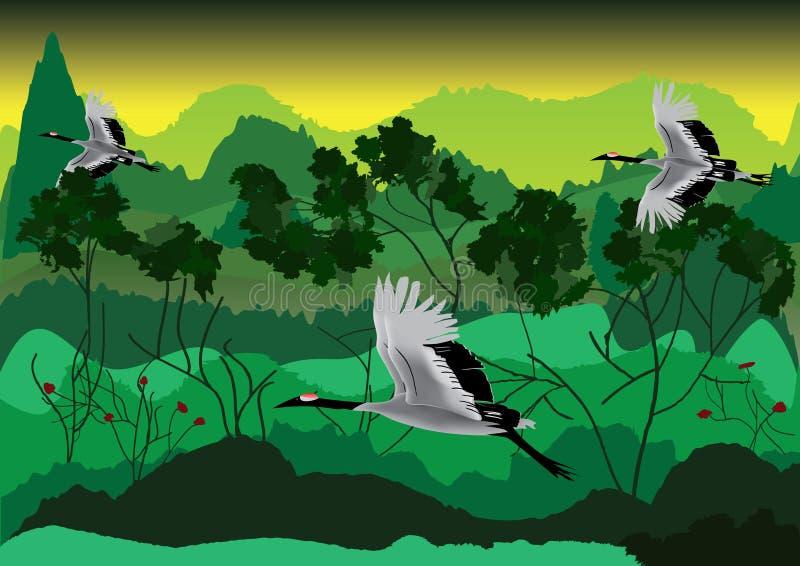 Vogel en Bos royalty-vrije illustratie