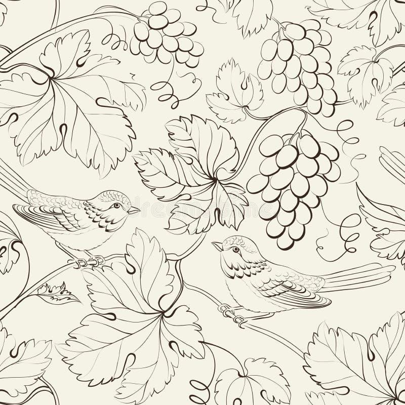 Vogel en druif, naadloos patroon. royalty-vrije illustratie