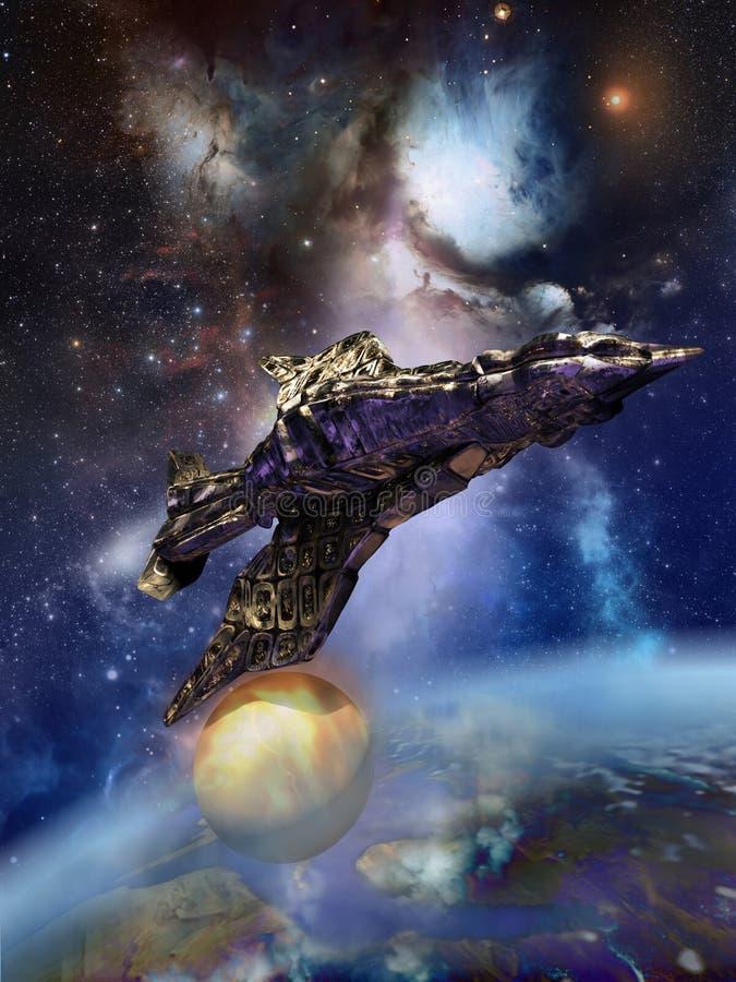 Vogel-förmiges Raumschiff stock abbildung