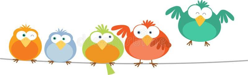Vogel-Familie auf Draht stock abbildung