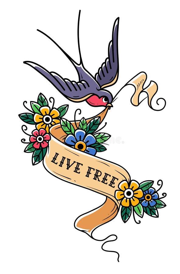 Vogel fliegt und trägt Band wird verziert mit Blumen Band mit Aufschrift Live Free Alte Schultätowierungsdesign vektor abbildung