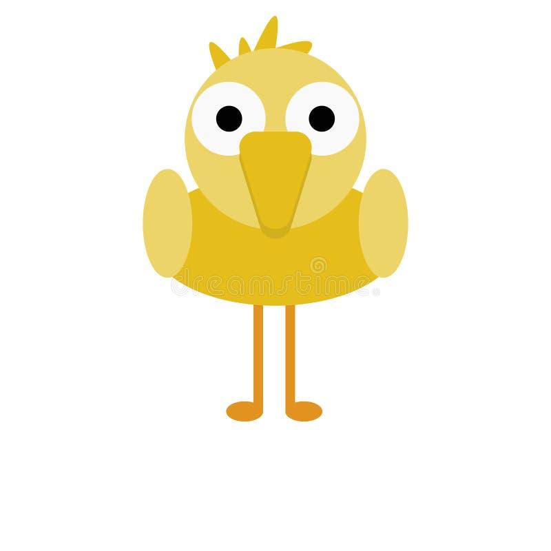 Vogel gelber Chick Cute Animal Cartoon Character für Kinder stockbild