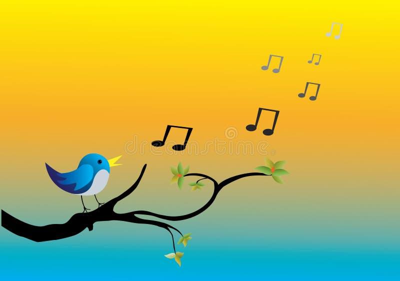Vogel het zingen op een tak stock illustratie