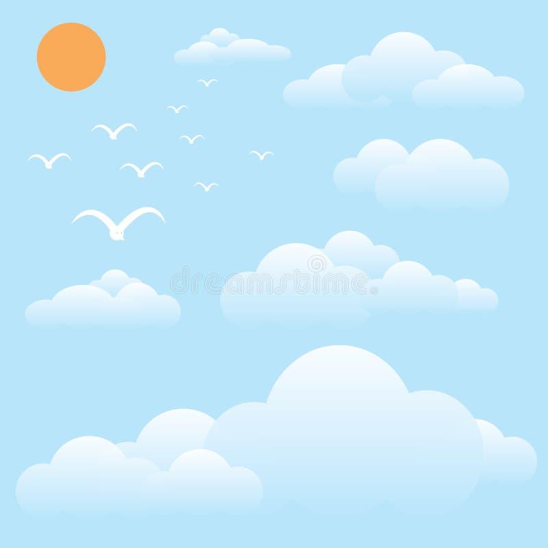 Vogel am Himmel, an der Sonne und an der Wolke stock abbildung