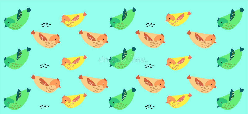 Vogel-Hintergrund - Muster mit Grün? Rosa und gelbe Vögel stock abbildung