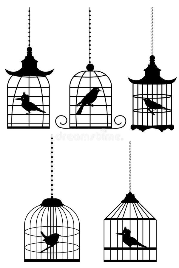 Vogel in kooi vector illustratie