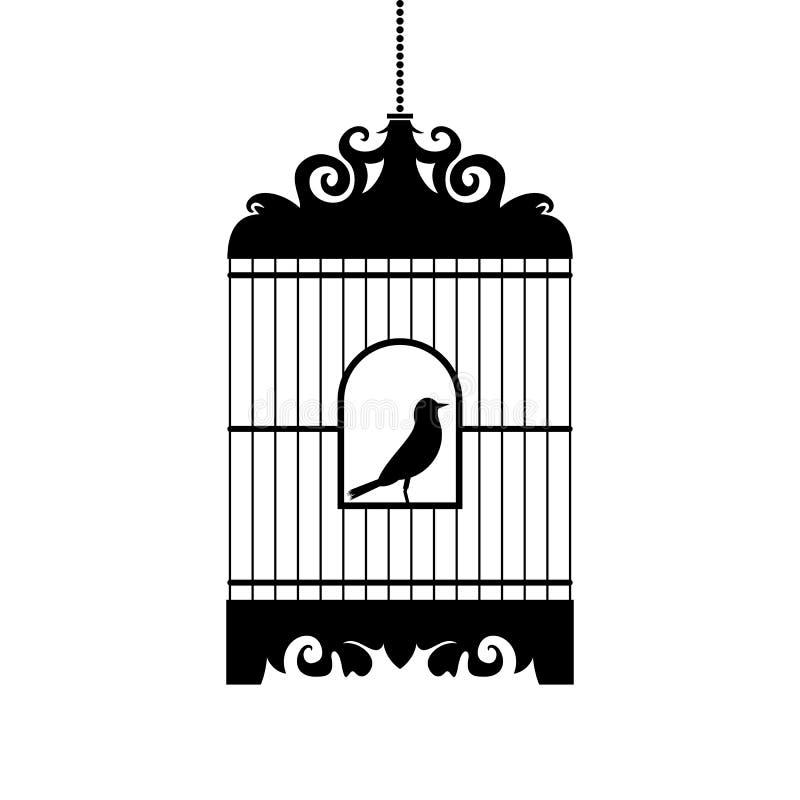 Vogel in kooi vectorsilhouet stock illustratie