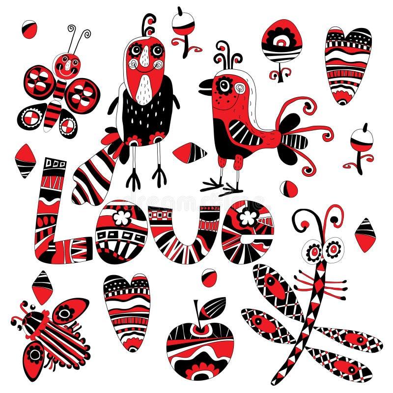 Vogel, libel, vlinder en kever op een witte achtergrond stock illustratie