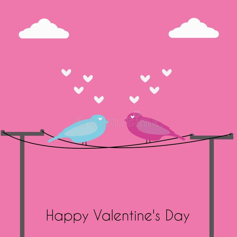 Vogel in liefde bij de dag van de valentijnskaart stock foto