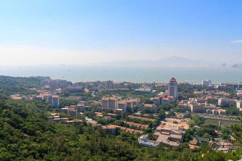 Vogel-mening van de campus van Xiamen-Universiteit royalty-vrije stock foto's