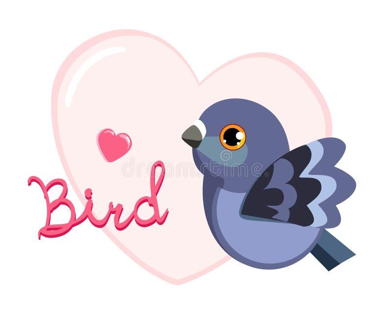 Vogel met een hart De vector van de duifillustratie royalty-vrije stock fotografie