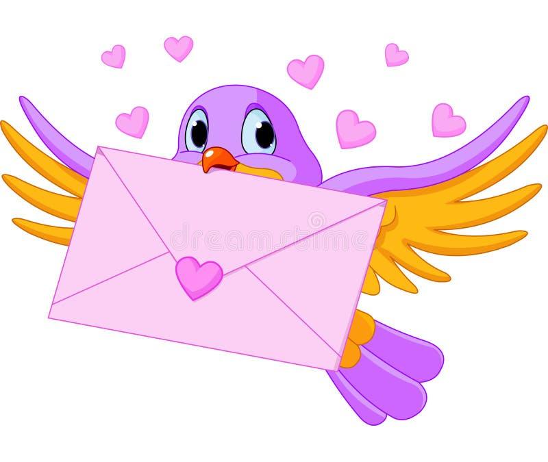 Vogel met liefdebrief stock illustratie