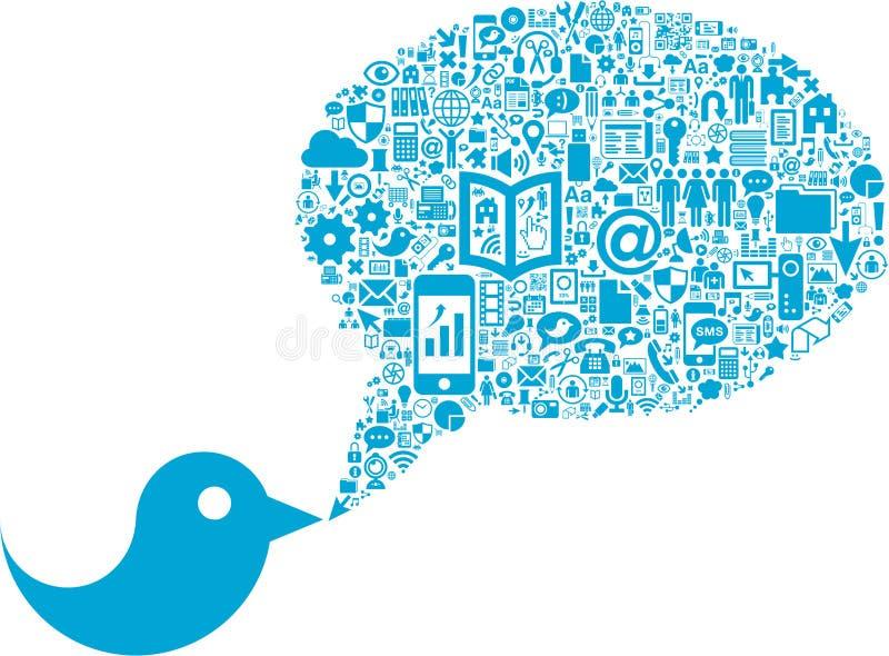 Vogel met sociale media pictogrammen royalty-vrije illustratie
