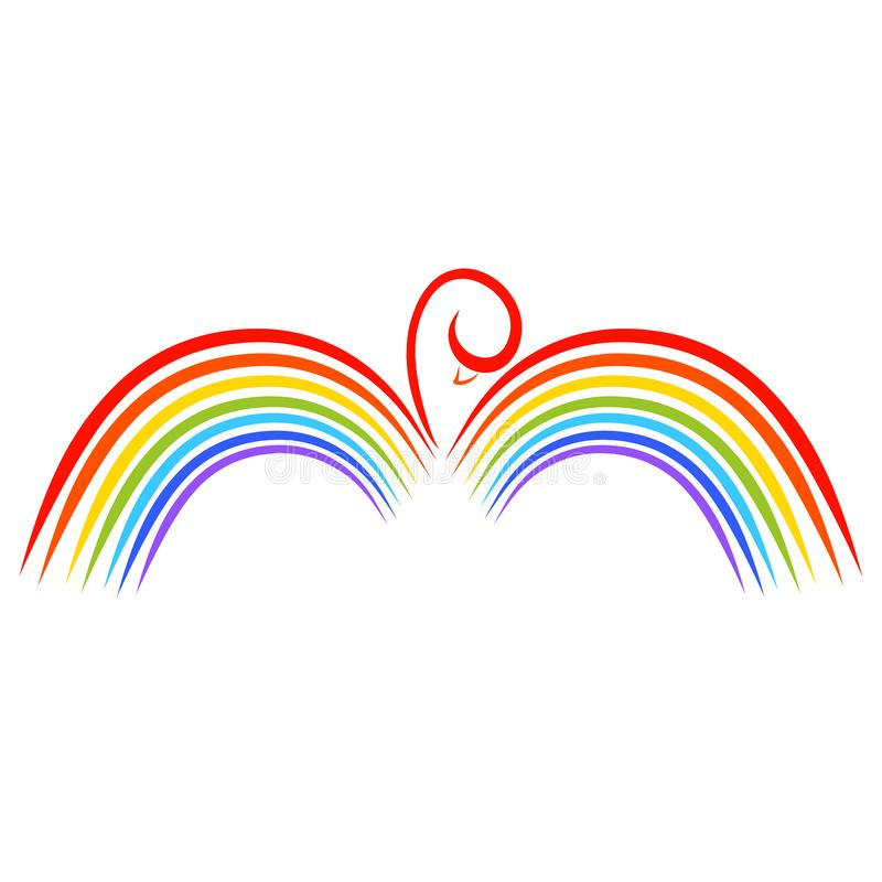 Vogel met vleugels in de vorm van een regenboog, kleurrijk patroon vector illustratie