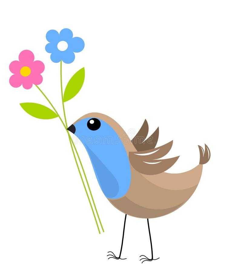 Vogel mit Blumen stock abbildung
