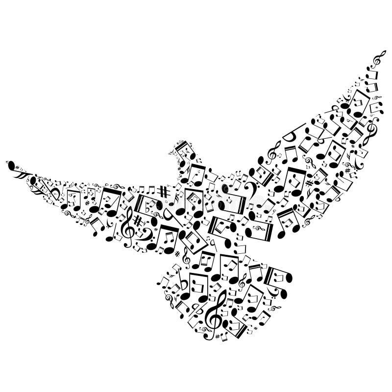 Vogel mit kleineren musikalischen Anmerkungen lizenzfreie abbildung
