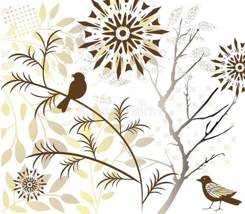 Vogel mit Laub lizenzfreie abbildung