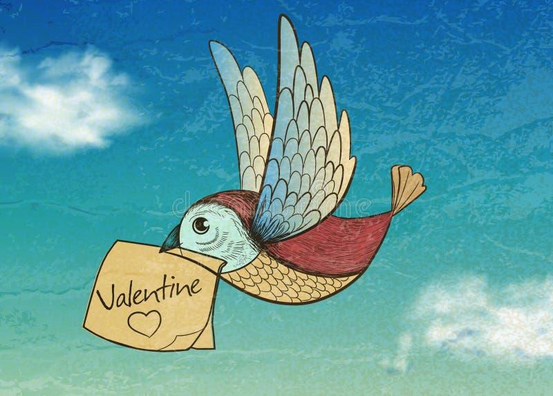 Vogel mit Valentinsgrußkarte. Einladung lizenzfreie abbildung