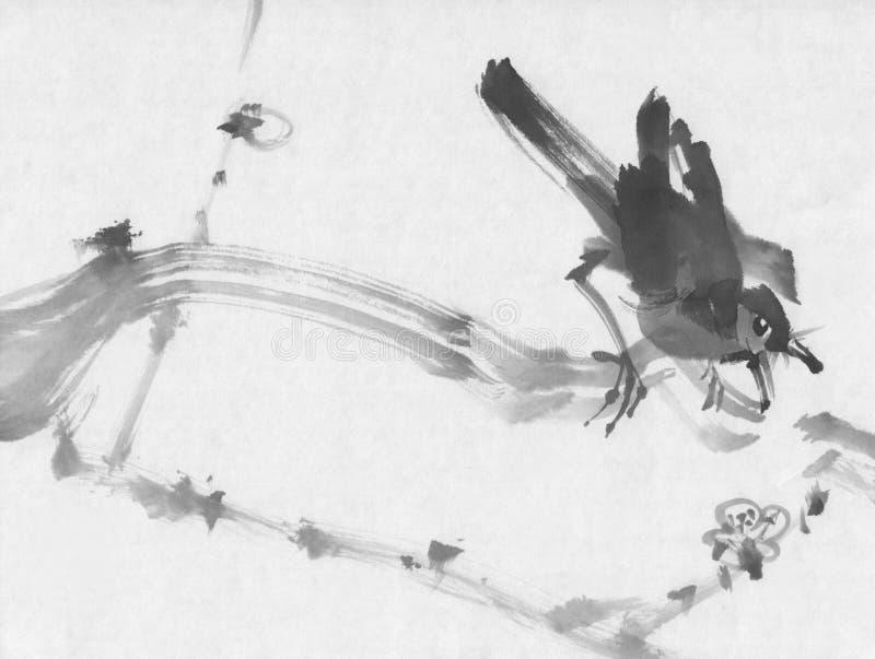 Vogel op de inkt van de kersentak sumi-e het schilderen stock foto