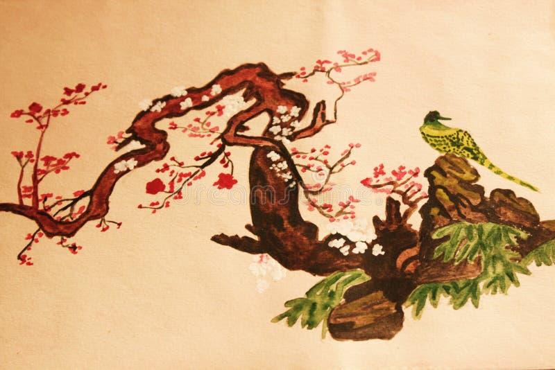 Vogel op de tak. Het schilderen van Watercoloured. stock foto