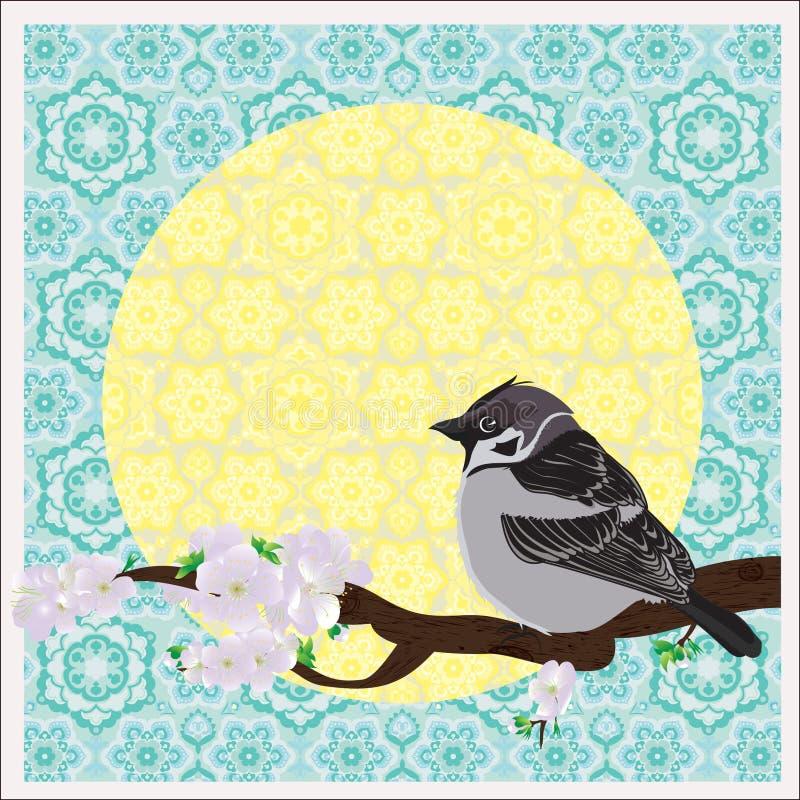 Vogel op een pruimboom royalty-vrije illustratie