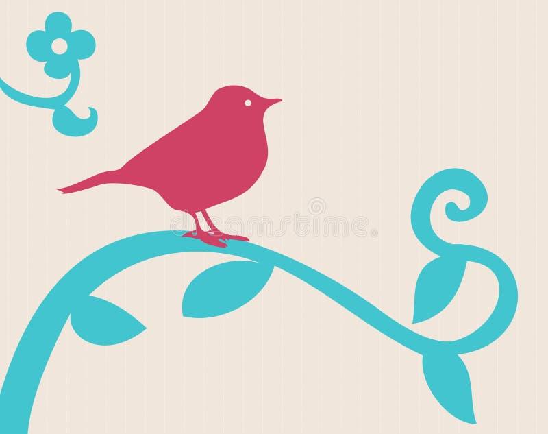 Vogel op een tak stock illustratie