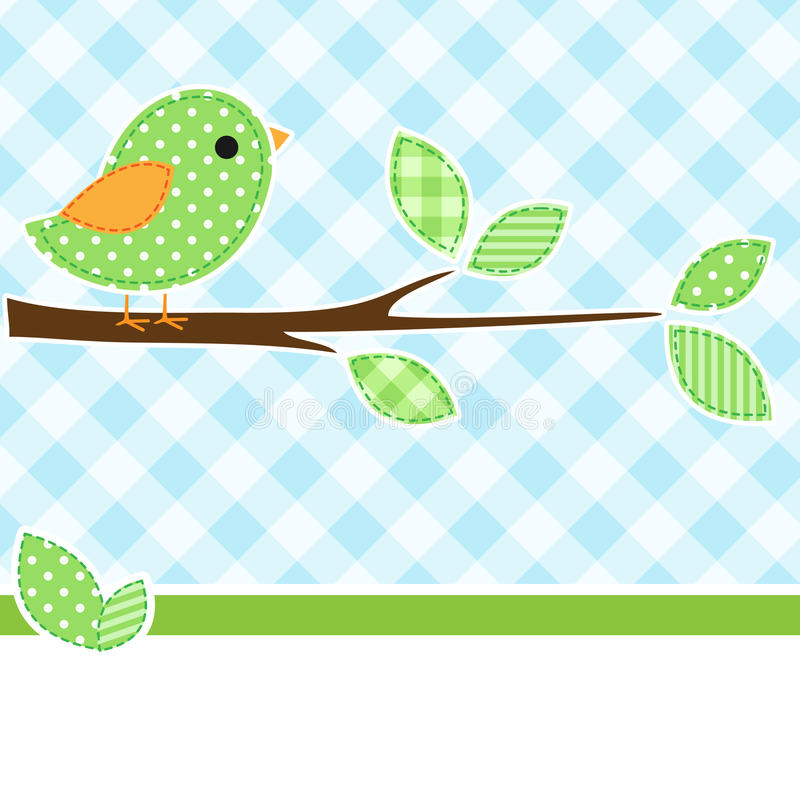 Vogel op tak vector illustratie