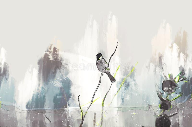 Vogel op tak digitaal schilderen door brushing vector illustratie
