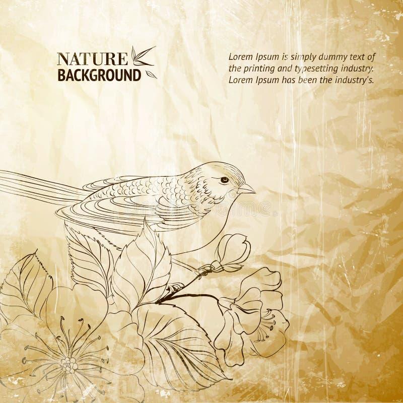 Vogel op takje vector illustratie