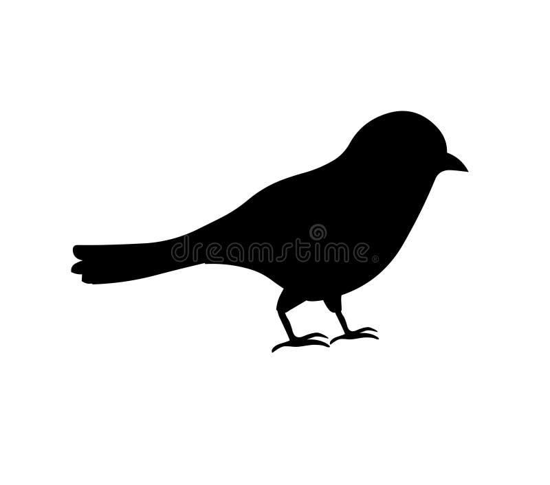 vogel Silhouet van Vogel die op Witte Achtergrond wordt geïsoleerd royalty-vrije illustratie