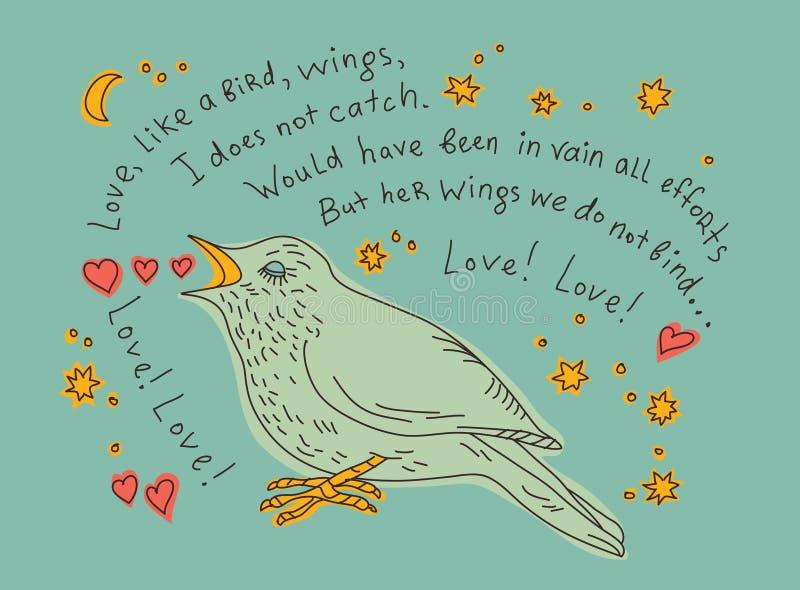 Vogel singt die Arie von Carmen in der Farbe lizenzfreie abbildung