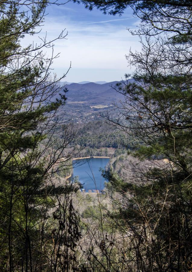 Vogel State Park overlook of Lake Trahlyta, Georgia stock image