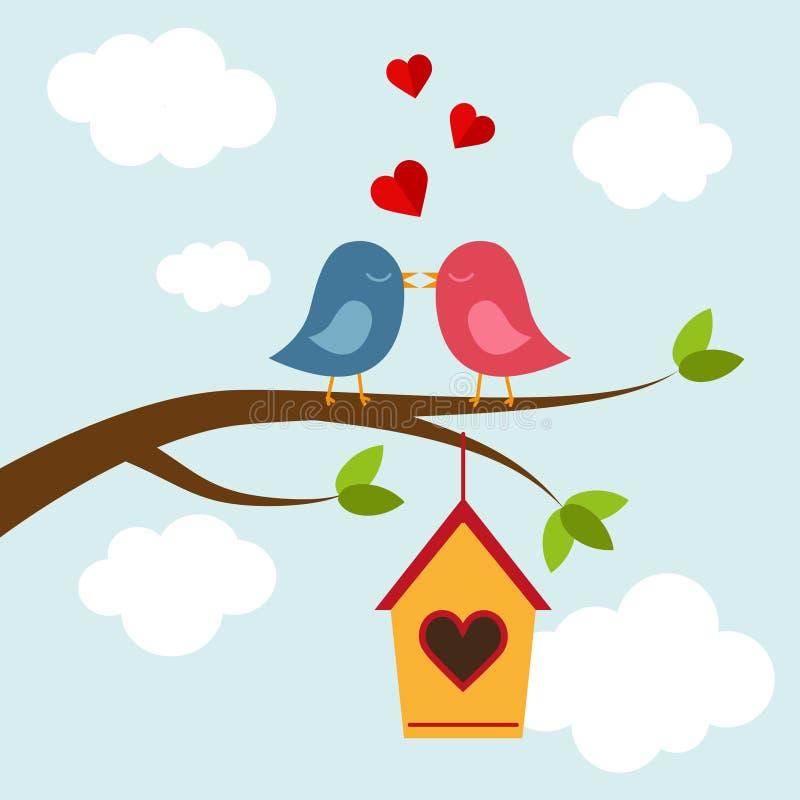 Vogel twee in liefde op de boom stock illustratie