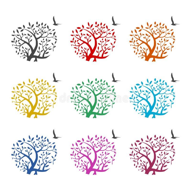 Vogel- und Baumastlogo oder Ikone, Farbsatz lizenzfreie abbildung