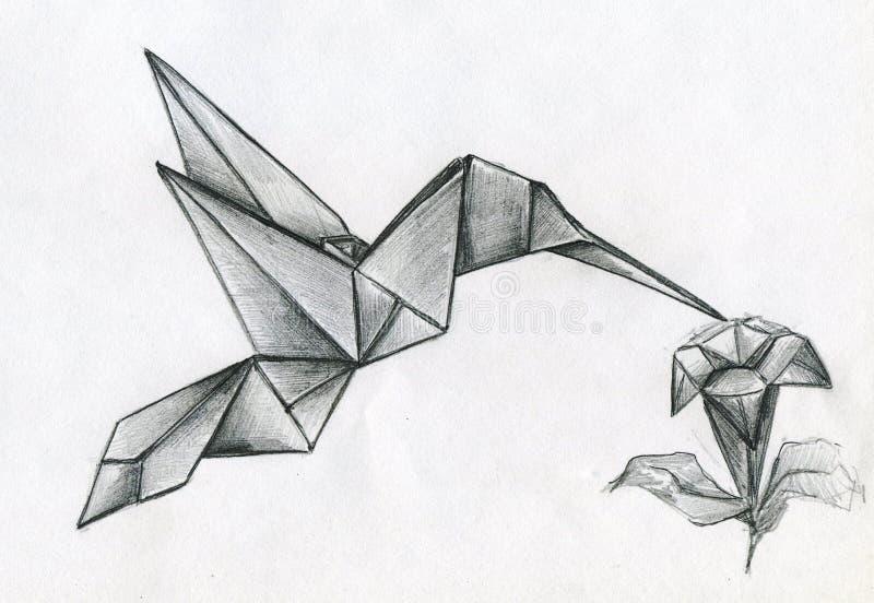 Vogel und Blume Colibri gemacht von gefaltetem Papier lizenzfreie abbildung