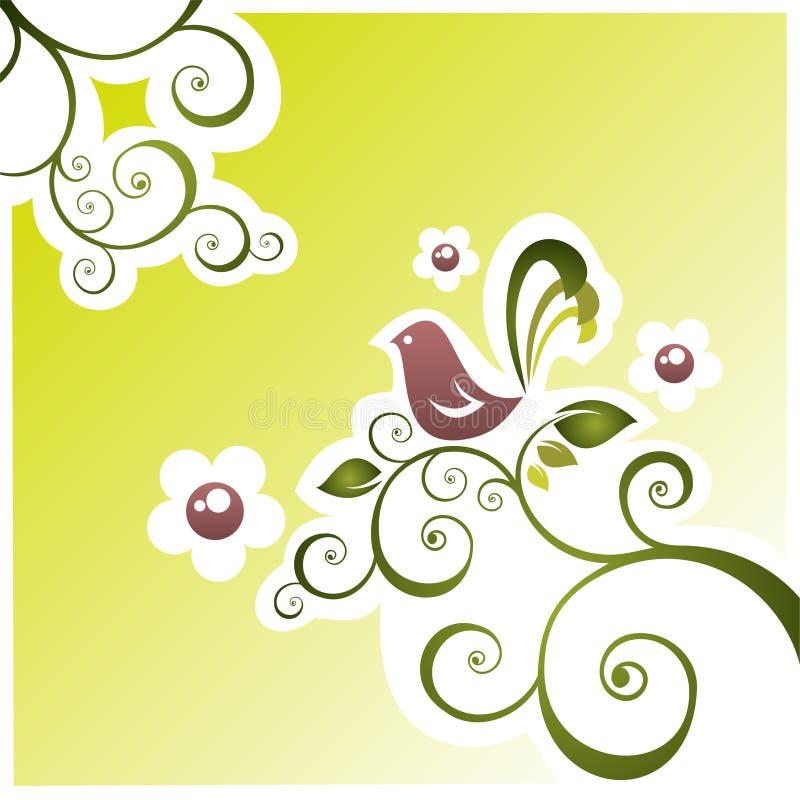 Vogel und Blumen lizenzfreie abbildung