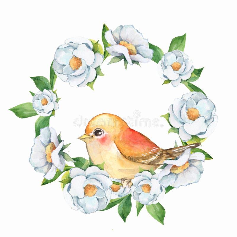 Vogel und Blumenkranz 1 vektor abbildung